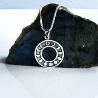 Sterling Silver Moon Phases Necklace Lunar Calendar Pendant Medallion Full Moon Charm New Moon Waxes Waning Small Medallion
