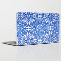 Cobalt Blue & China White Folk Art Pattern Laptop & iPad Skin by Micklyn