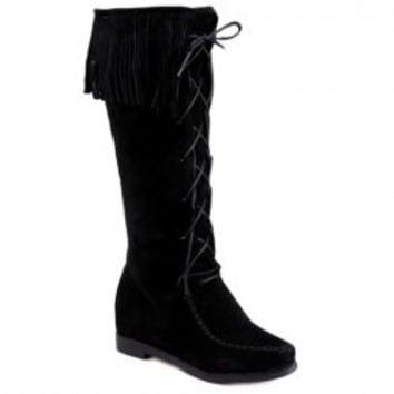 Sweet Lace-Up and Fringe Design Women's Mid-Calf Boots