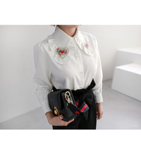 Embroidered Heart Patch Collar Blouse