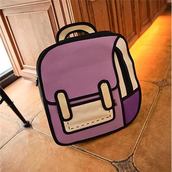 Japanese Anime Bag AEQUEEN 3D Printing Canvas Backpack 2D Drawing Cartoon School Back Pack Bag Cute Student Schoolbag Messenger For Teenage Girls AT_59_4