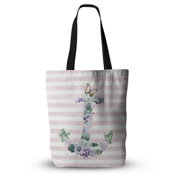 "Nika Martinez ""Floral Anchor"" Pink Stripes Everything Tote Bag"