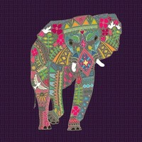 painted elephant Stretched Canvas by Sharon Turner
