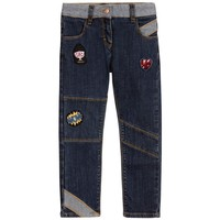 Little Marc Jacobs Girls Blue Denim Jeans with Patches