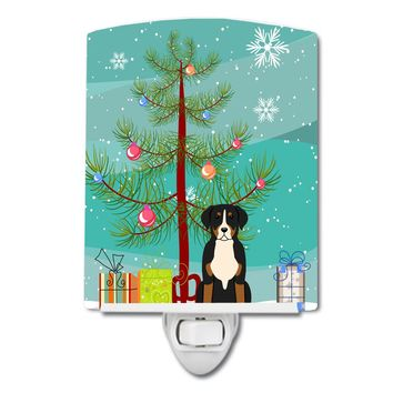 Merry Christmas Tree Greater Swiss Mountain Dog Ceramic Night Light BB4162CNL