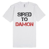 Sired to Damon-Unisex White T-Shirt