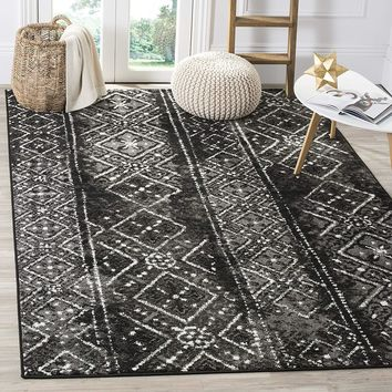 9948 Black Modern Distressed Contemporary Area Rugs