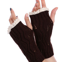 Brown Lace Top Knitted Hand Warmers