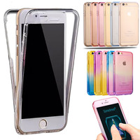 For iPhone 6 6S 6S plus 5 5S SE Shockproof Back+ Front Transparent TPU Soft Touch Case full body Protective Clear Colorful Cover