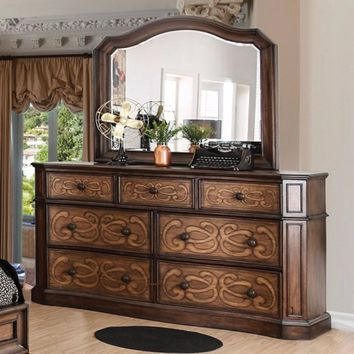 Laser- Cut Design Wooden Dresser, Warm Chestnut Brown