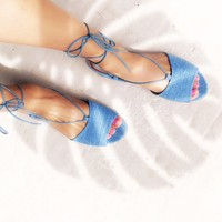 Be My Guest Lace Up Flats in Denim