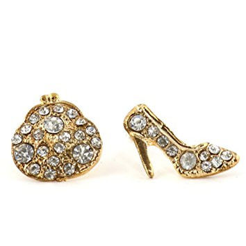 High Heel Shoe and Clutch Purse Stud Earrings EK22 Gold Tone Crystal Posts Fashion Jewelry