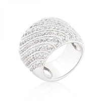 Cubic Zirconia Pave Diagonal Ring