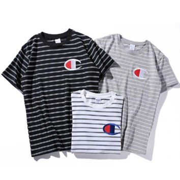 Champion Woman Fashion Edgy Embroidery Sport Stripe Shirt Top Tee/hjk