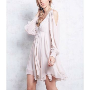 Free People Tatiana Beaded Swing Dress in Champange