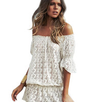 Off-shoulder Rufffled Lace Mini Dress