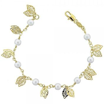 Gold Layered 03.63.1146.07 Charm Bracelet, Leaf and Ball Design, with Gray Pearl, Polished Finish, Gold Tone
