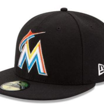 MLB Miami Marlins New Era Black Home Authentic Collection On Field 59FIFTY Performance Fitted Hat