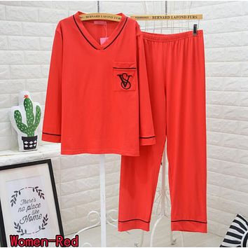 Victoria's Secret New Fashion Women Men Casual Embroidery V Collar Long Sleeve Pants Trousers Red Pajamas I13438-1