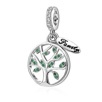 Hoobeads Family Tree Charms Bead Authentic 925 Sterling Silver Tree of Life Family Dangle Charms Pendants fit for European Bracelet