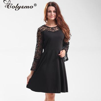 Colysmo Gauze Metallic Lace button Hollow printing Women's A-Line Mini Dress Sexy Skater Long sleeve Girl Dresses size S-XXL New