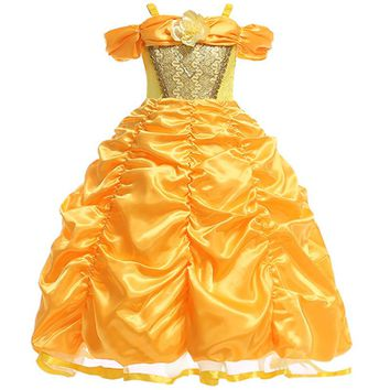 Teenage Girl Dress Girls Party Wear Beauty And The Beast Prom Gown Children Kid Halloween Costume Girl Clothes belle infant SUIT