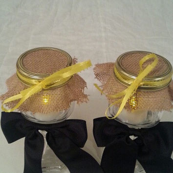 Burlap black yellow wedding candle jar / center piece set. Any color to match your wedding