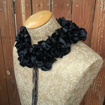 Hand Crafted Fabric Flower Collar in Black