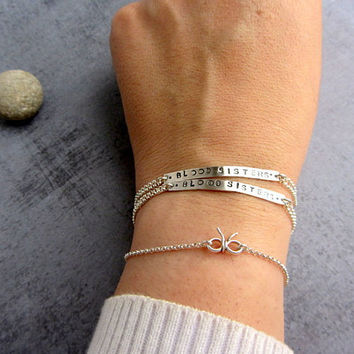 Personalized friendship bracelet, stamped sterling silver bar chain bracelet.
