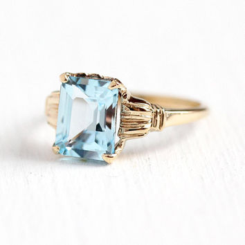 Blue Topaz Ring -  Vintage 10k Yellow Gold Sky Blue 2.75 Carat Emerald Cut Gem - Retro 1950s Size 6 Genuine Light Gemstone 50s Fine Jewelry