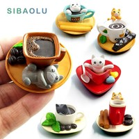 Kawaii Dessert Cat miniature garden furniture Figurine animal home decoration accessories Decor fairy resin craft Bonsai toys