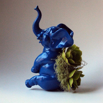 $20.00 Electric Blue Elephant Planter  Mini Modern Art by CoastalMoss