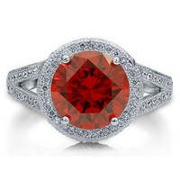 Sterling Silver 925 Garnet Cubic Zirconia CZ Split Shank Cocktail Ring #r609