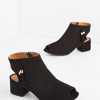 Black Tassel Trim Open Toe Shootie by Qupid®
