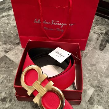 Salvatore Ferragamo Double Gancini Men's Reversible Belt Red/Black 100cm