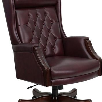 High Back Traditional Tufted Burgundy Leather Executive Swivel Ergonomic Office Chair with Headrest and Arms [KC-C696TG-GG]