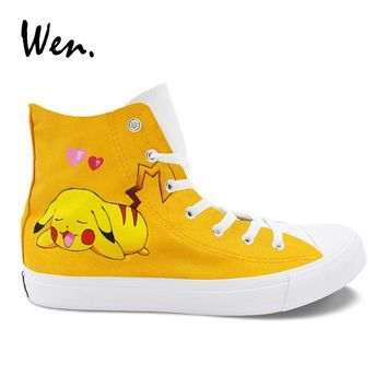 Wen Hand Painted Design Shoes Pokemon Go Pikachu Yellow High Top Womens Mens Canvas Sneakers Casual Laced Espadrilles