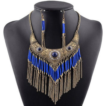 Blue Faux Gem and Cut Out Tassels Necklace and Earrings
