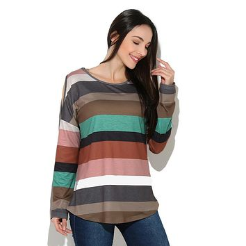 Women Rainbow Striped Long Sleeve Tops Strapless Blouse T Shirt