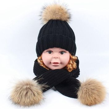 Children Kids Girls Winter Hat Scarf set Raccoon Fur Ball Hat Pom pom Beanies Baby Boys Girls Warm Fleece Cap Scarf Set