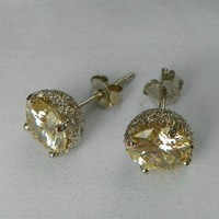 Synthetic Yellow Diamond Jewelry Stud Earrings, Vintage Design, .925