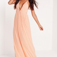 Missguided - Strappy Pleated Plunge Maxi Dress Nude