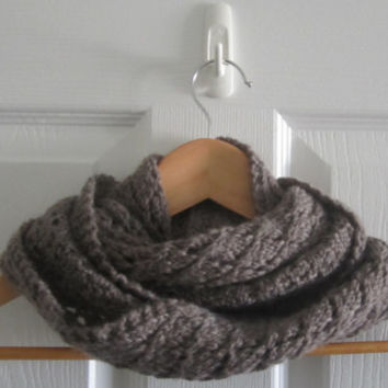 Wool Mini Scarf - Spring Scarf - Hand Knit Scarf - Taupe Scarf - Lace Knit Scarf - Infinity Scarf - Wool Knit - Made in Canada - Lacy Knit