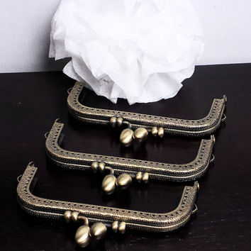 10cm Coin Purse Frames, 3 Pc Set of 4 Inch Sew-In Purse Frames, Retro Antique Brass Bag Hardware @ MeiMei Supplies in USA