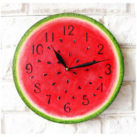 The Watermelon Wall Clock Home Decor for Children Baby Kid Boy Girl Nursery Kitchen