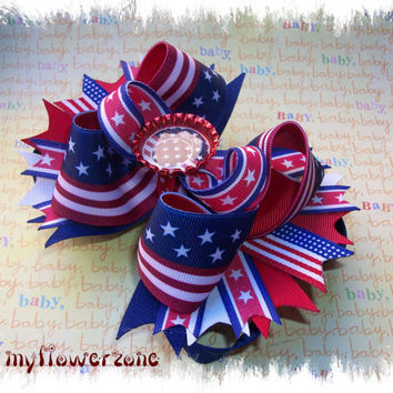Patriotic Boutique Hair Bow  American Flag Stacked  Hair bow  by MyFlowerZone