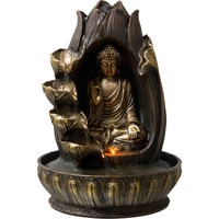 Water Fountain With Gold Buddha Meditating in Lotus Flower