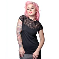 Steady Clothing Rockabilly Vamp Pinup Black Skull Lace Damsel Knit Top
