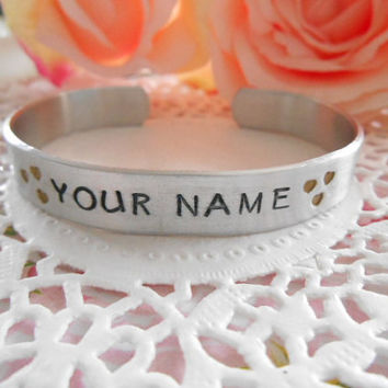 Hand Stamped Personalized With Your Name And Hearts Cuff Bracelet
