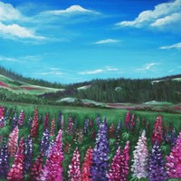 Lupine Hills Painting by Anastasiya Malakhova - Lupine Hills Fine Art Prints and Posters for Sale